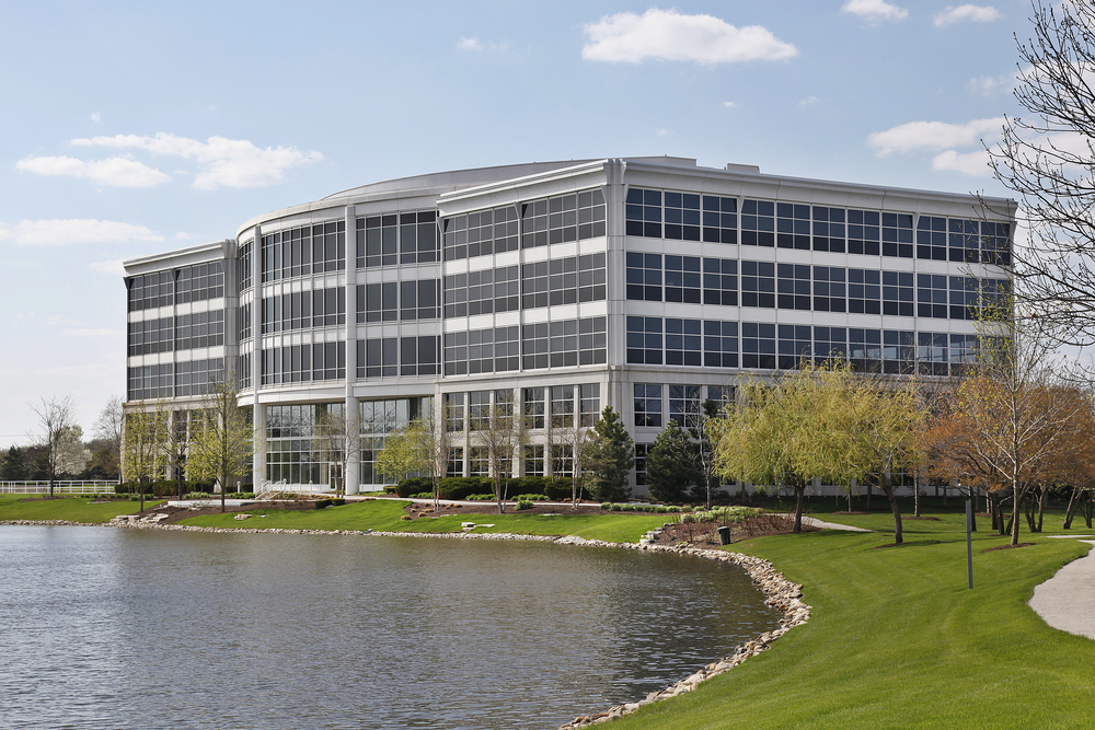 Exterior of Office Building With Beautiful Commercial Landscaping